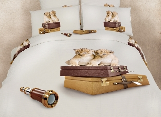 eye-catching animal print bedding featuring baby leopards arriving from their safari trip.