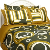 Torino Olive Green and Dark Green 8 PC Bedding Set