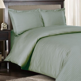 Sage Sateen Stripe 8 PC Duvet Cover Set 600 Thread count