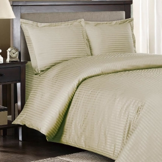 Linen Sateen Stripe 8 PC Duvet Cover Set 600 Thread count