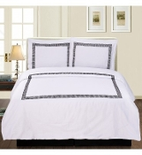 White Black Serena 3-Piece Duvet Cover Set