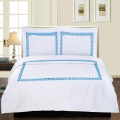White Blue Serena 3-Piece Duvet Cover Set