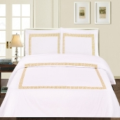White Gold Serena 3-Piece Duvet Cover Set