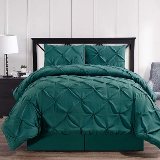 Teal Oxford Double Needle Soft Pinch Pleated Comforter Set