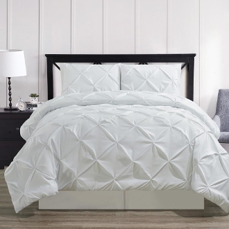 White Oxford Double Needle Soft Pinch Pleated Comforter Set
