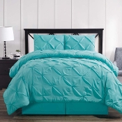 Aqua Blue Oxford Double Needle Soft Pinch Pleated Comforter Set